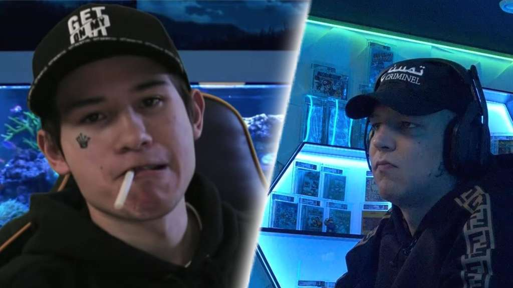 YouTuber Mealo und Twitch-Streamer MontanaBlack vor Aquarium im Gaming-Room